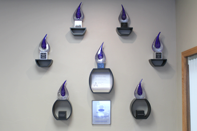 photo of awards in showroom